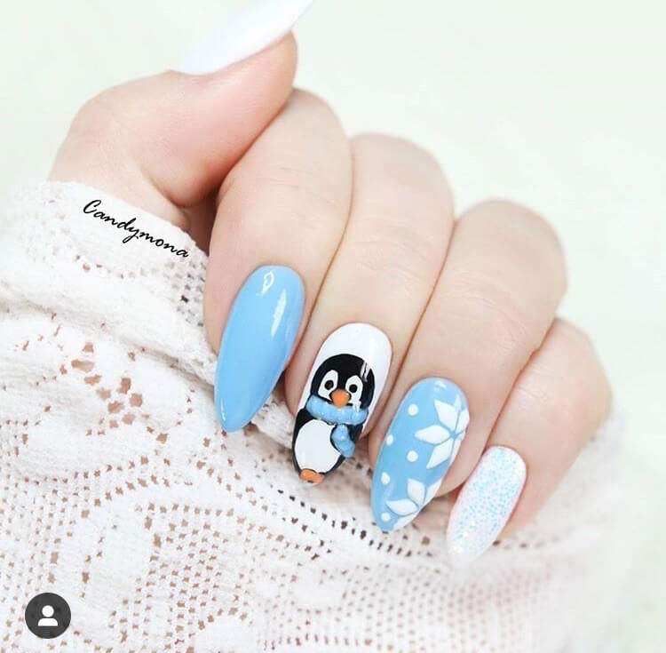 snow nails christmas winter manicure penguin