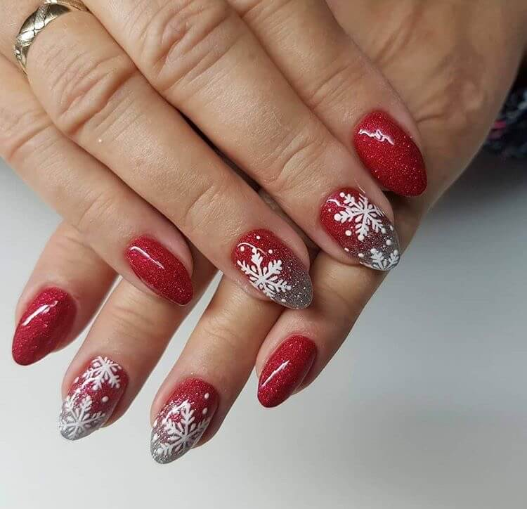 snow nails christmas winter manicure snowflake