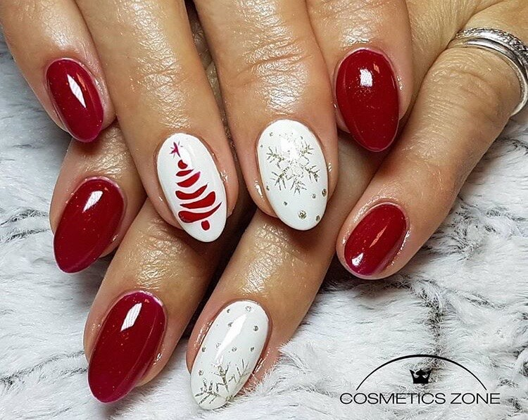 snow nails christmas winter manicure white red