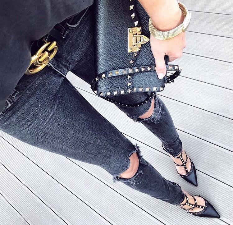 valentino garavani rockstud heels luxury black