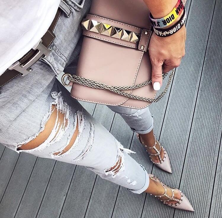 valentino garavani rockstud heels luxury nude jeans