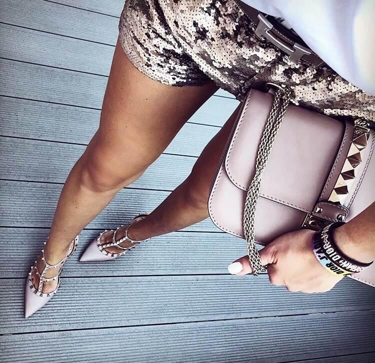 valentino garavani rockstud heels luxury nude shorts glittery