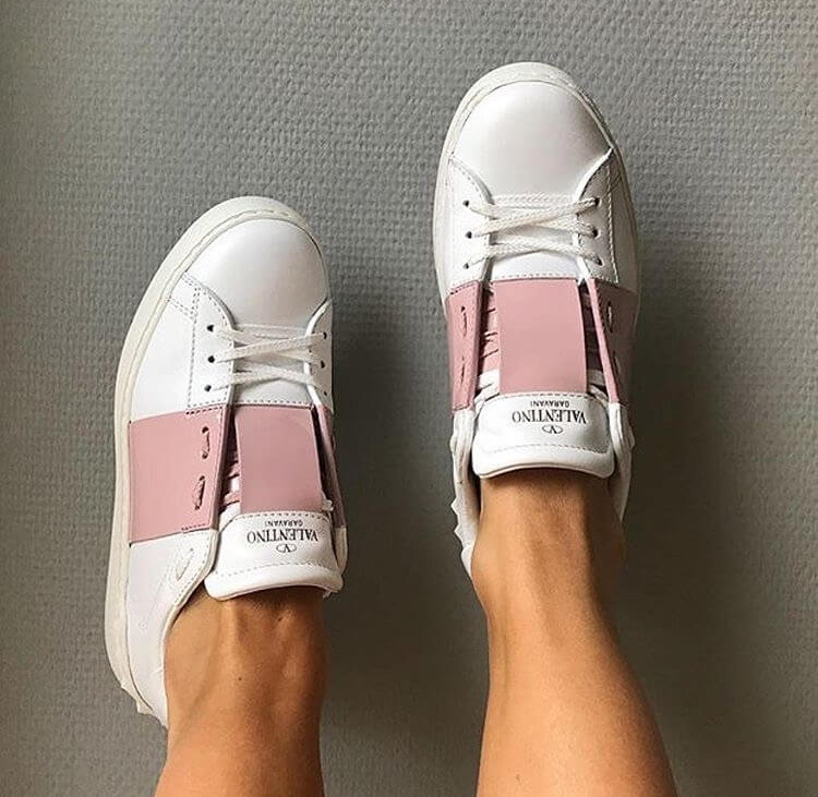 valentino garavani rockstud luxury white pink sneakers