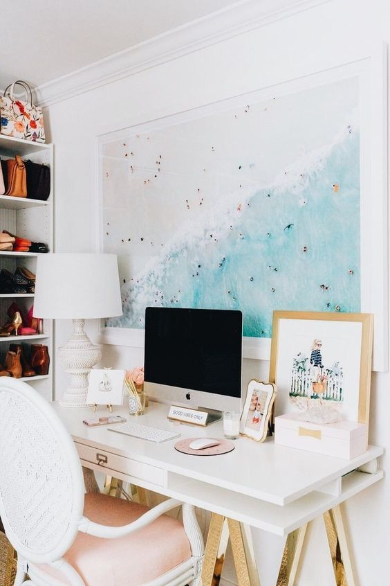 white desk minimalistic decor lacquer modern bedroom office