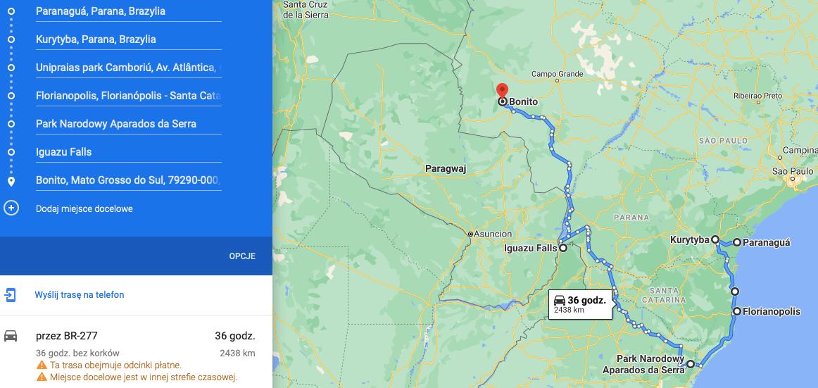 rio brazil roadtrip map