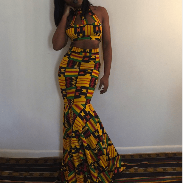 Jessica Chibueze's Ohemaa Closet Kente Print Two Piece Gown for The Ghana Independence Ball 2015 3