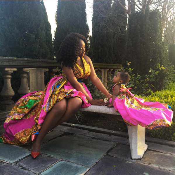 Miss Dunnie O and Baby Zion in Red Star Collective Dashiki Dresses for International Women's Day 2016 2