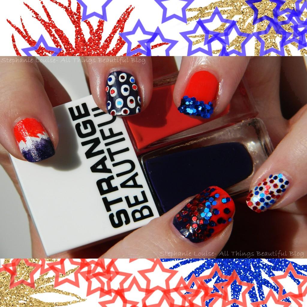 4th of July Manicure with #GlossyUSA & Strange Beautiful Glitter Manicure from All Things Beautiful XO