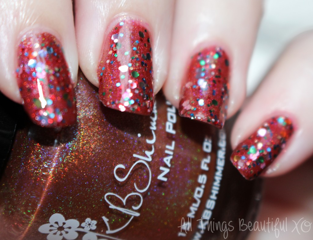 Layering with Deborah Lippman 99 Luftballons over KBShimmer Deja Brew- holo + glitter! from All Things Beautiful XO