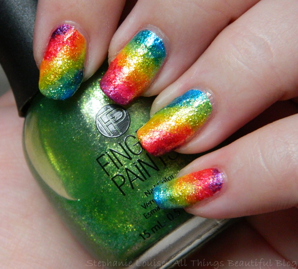 FingerPaints Rainbow Ombre Gradient Nail Art from All Things Beautiful XO