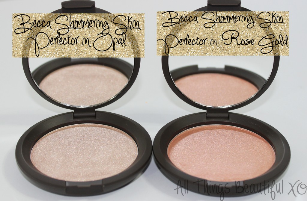 The Becca Highlighting Powders in Opal & Rose Gold are Stunning! *** Becca Shimmering Skin Perfectors Pressed aka powder form in Opal & Rose Gold Swatches, Review & Demo from All Things Beautiful XO