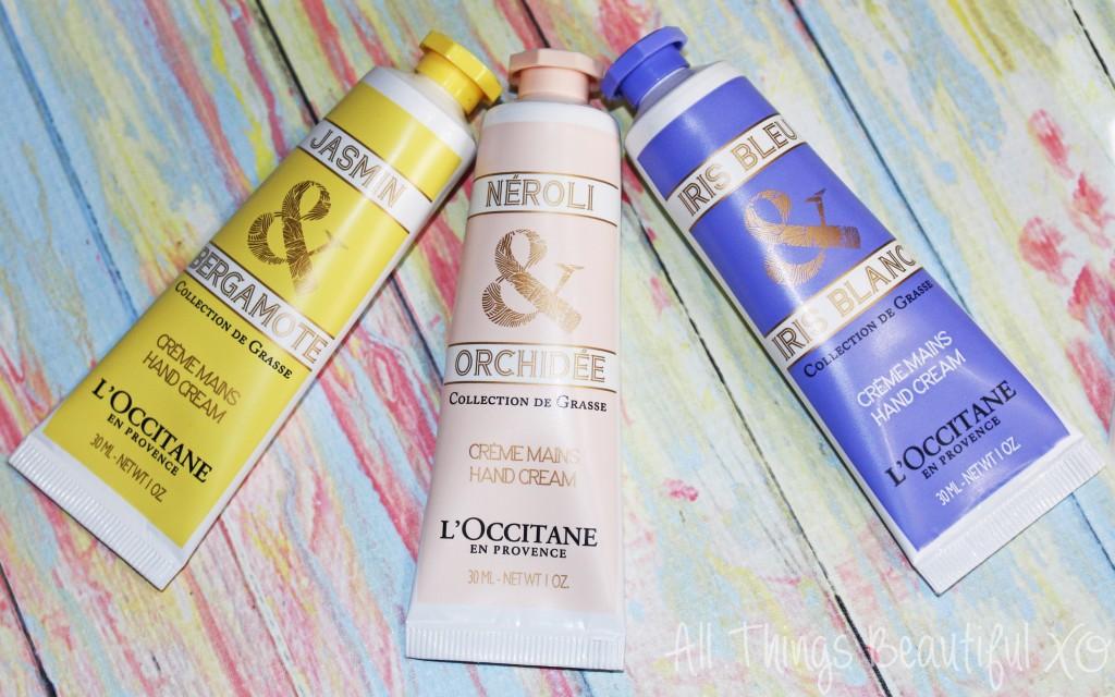 L'Occitane Spring Hand Creams in Jasmin Bergamote, Neroli Orchidee, & Iris Bleu in the L'Occitane La Collection de Grasse Hand Creams Set Review on All Things Beautiful XO   www.allthingsbeautifulxo.com