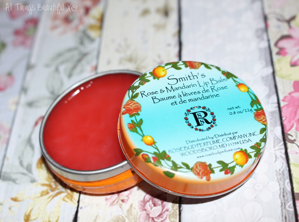 Smith's Rosebud Perfume Co. Rose & Mandarin Lip Balm great for lips & body- with a new scent & tint that is intoxicating for this Orange County gal! Review on All Things Beautiful XO | www.allthingsbeautifulxo.com