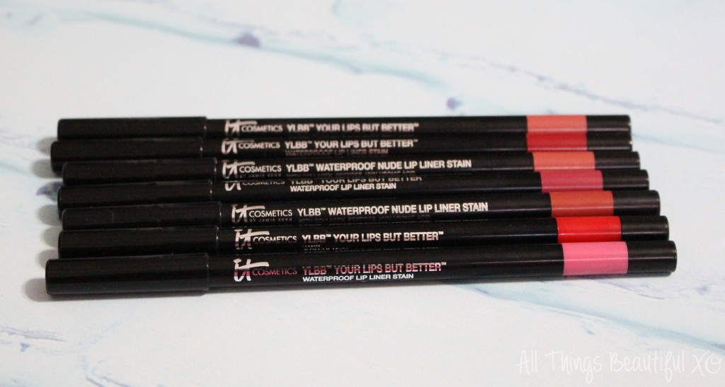 It Cosmetics Your Lips But Better Waterproof Lip Liner Stains swatches, review & demo- you NEED these lipliners in your lip life! Seriously!  IT Cosmetics YLBB shades shown are Nude/Light Medium, Blushing Nude, Perfect Red, Romantic Rose, Nude Tan/Rich, Cherry Flush, & Pretty in Pink from All Things Beautiful XO | www.allthingsbeautifulxo.com