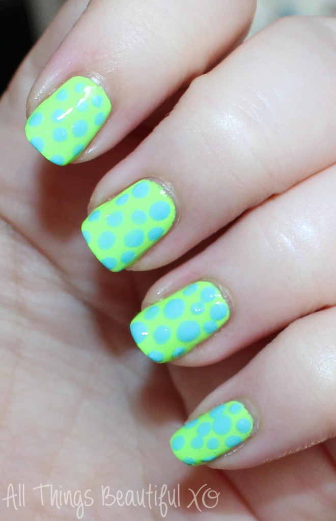 Blue & Green Neon Summer Nail Art Dots with KBShimmer  in Yacht Water & For Sail by Owner. I ust love summer nail art- so bright & fun for a manicure or pedicure! Check it out on All Things Beautiful XO  www.allthingsbeautifulxo.com