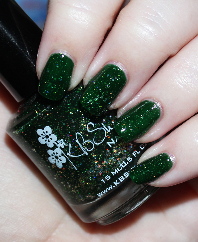 KBShimmer Winter Holiday Nail Polish Swatch in Kind of a Big Dill  Check out full swatches & review of all the KBShimmer Nail polish shades for winter/holiday- including some gorgeous holo & glitter options! Check them all out on All Things Beautiful XO