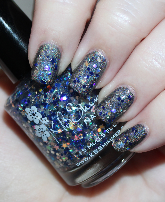 KBShimmer Winter Holiday Nail Polish Swatch in Oh Holo Night  Check out full swatches & review of all the KBShimmer Nail polish shades for winter/holiday- including some gorgeous holo & glitter options! Check them all out on All Things Beautiful XO