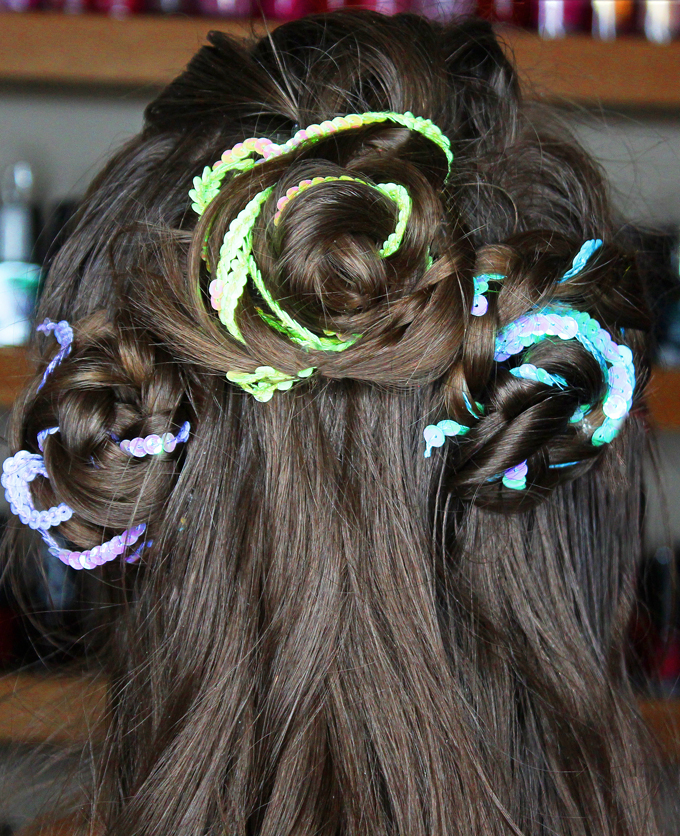 Spring Braided Sequin Rosette Hair Tutorial Nume 32mm Wand