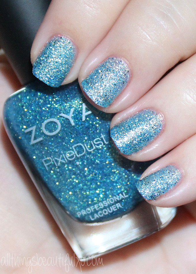 This is Zoya Bay  Swatches & Review of the Zoya Pixie Dust Seashells Collection including Levi, Bay, Cece, Linds, Zooey, & Tilly on All Things Beautiful XO