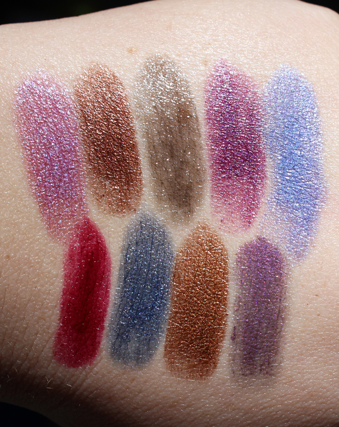 Swatches & review of the Urban Decay Vintage Vault Vice Lipsticks in the shades Asphyxia, Roach, Oil Slick, Plague, UV-B, Bruise, Frostbite, Smog, & Pallor. See more beauty reviews, makeup tutorials, & nail art on All Things Beautiful XO