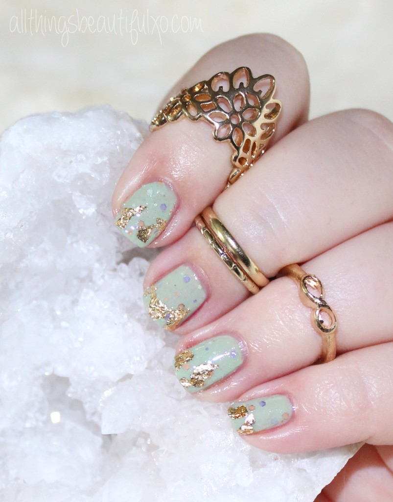 Gold Flake Nail Art with KBShimmer Sage It Ain't So + Where I buy Cheap Nail Art Supplies on All Things Beautiful XO