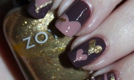 Chocolate-Inspired Nail art with touches of mauve, plum, & gold using Zoya Naturel 3 shades Jill + Debbie & Zoya Ziv. Check out more nail art, makeup, & beauty posts on All Things Beautiful XO