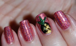 Holographic Tropical Pineapple Nail Art- because what is better than sometime summer-y holo goodness? Using KBShimmer shades & a DIY decal method. See more nail polish, beauty, & lifestyle on All Things Beautiful XO