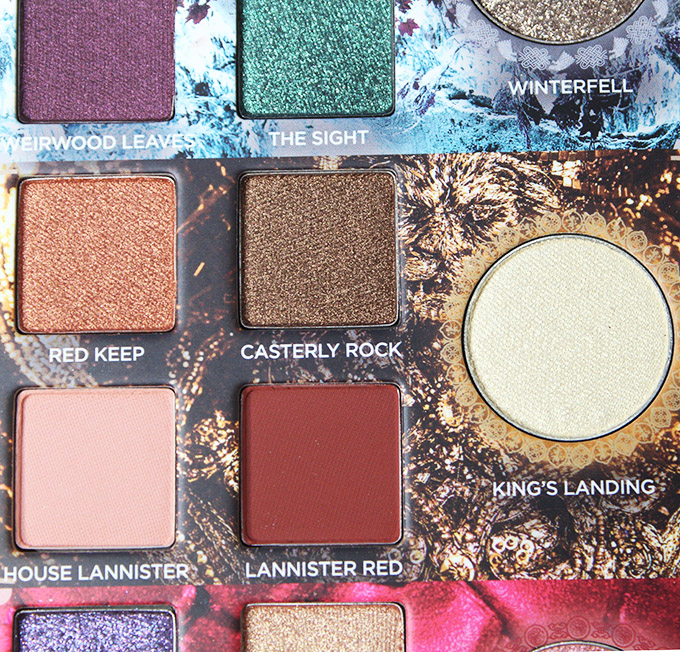 Urban Decay Game of Thrones Eyeshadow Palette Swatches & Review on All Things Beautiful XO House of Lannister section in the urban Decay x Game of Thrones Eyeshadow Palette includes the shades: Red Keep, Casterly Rock, House lannister, Lannister Red, & transformer shade in King's Landing.
