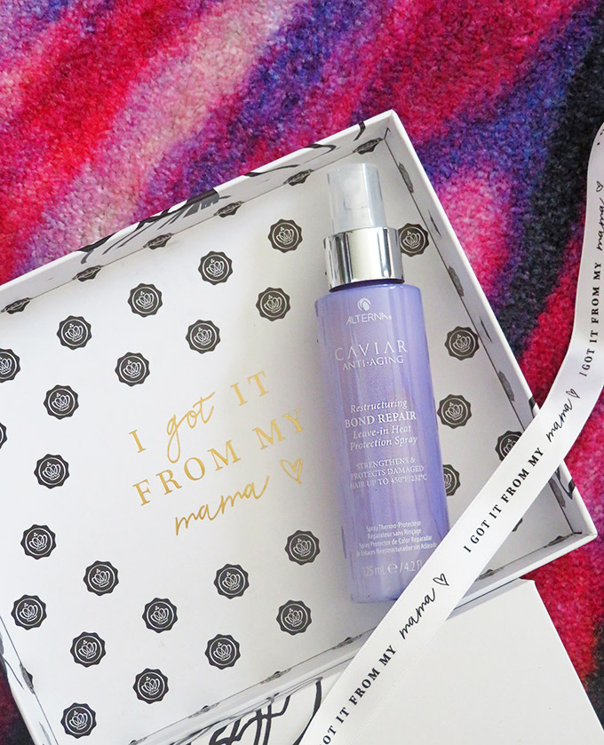 Alterna Caviar Anti-Aging Restructuring Bond Repair Heat Protection Spray Unboxing the limited edition Glossybox for Mother's Day including Alterna, Flowerbomb, & more on All Things Beautiful XO
