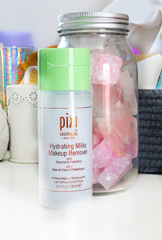 Pixi Beauty Hydrating Milky Makeup Remover Review if the Pixi Hydrating Milky Skincare Line including cleanser, peel, & tonic on All Things Beautiful XO