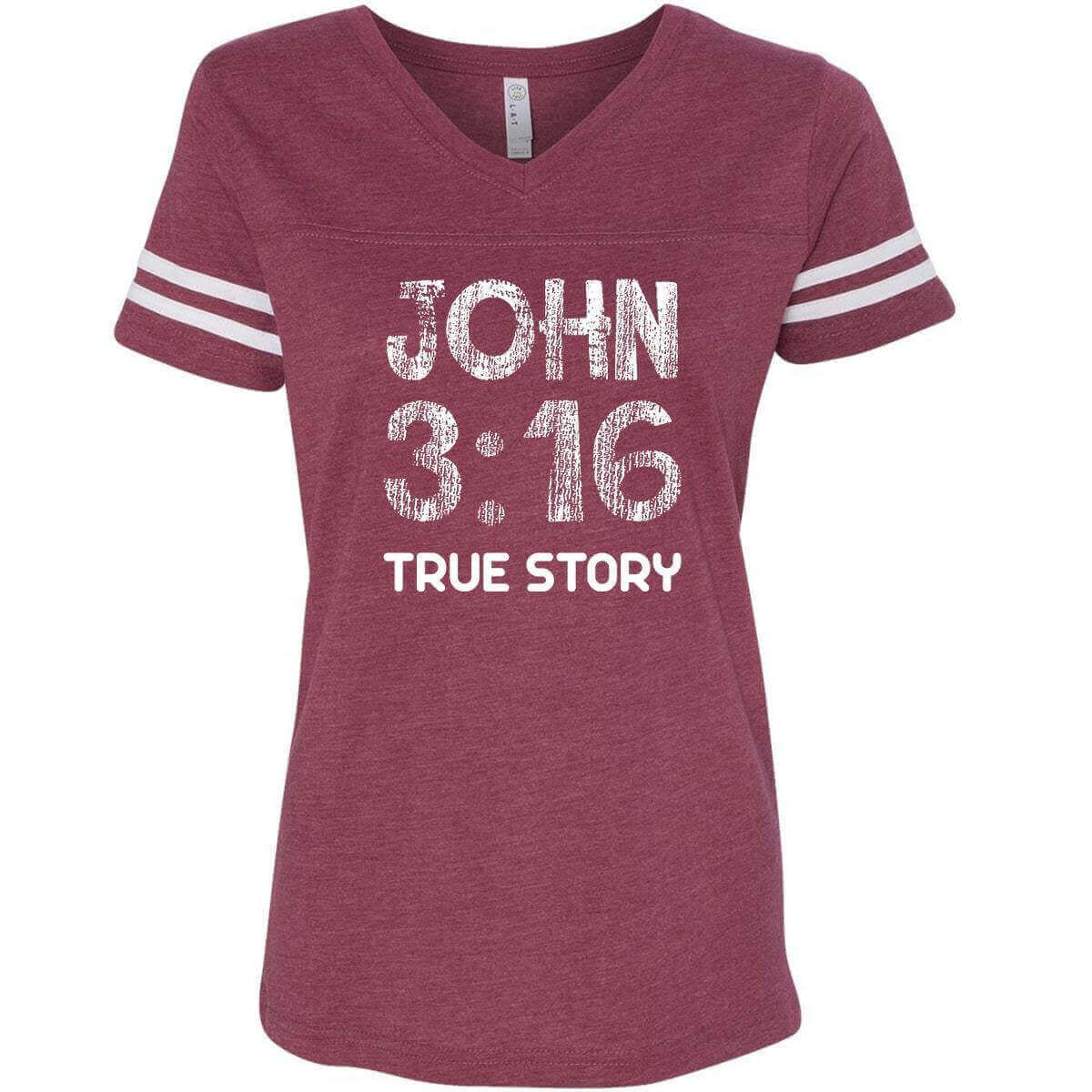 John 3 16 True Story Christian V Neck Football Jersey T Shirt