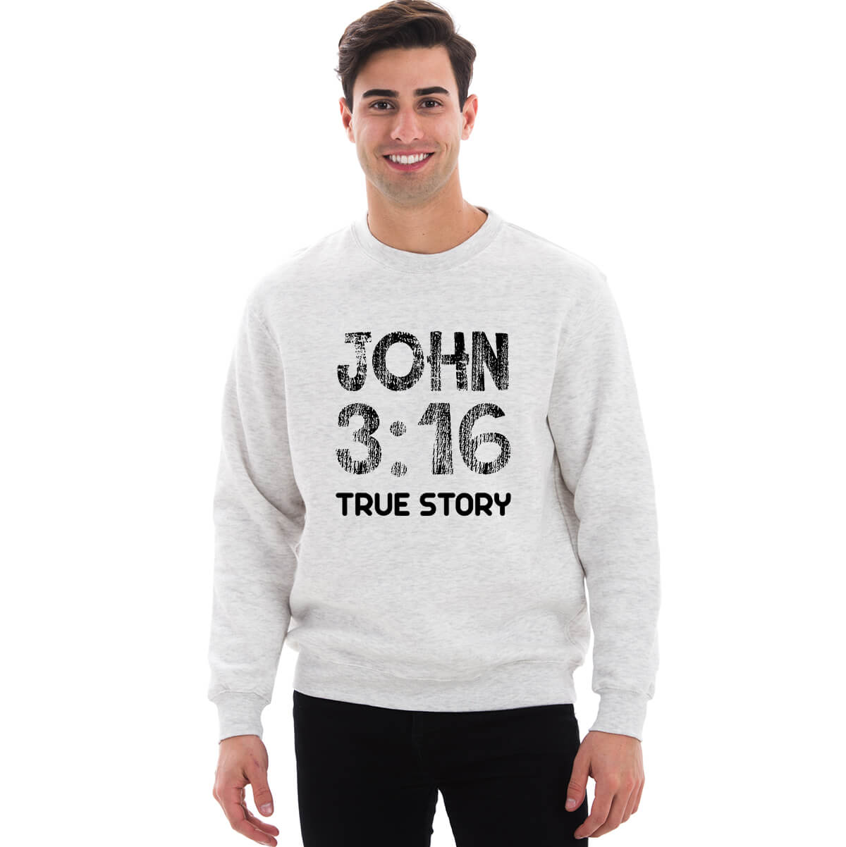 John 3 16 True Story Unipremium Crewneck Fleece Sweatshirt