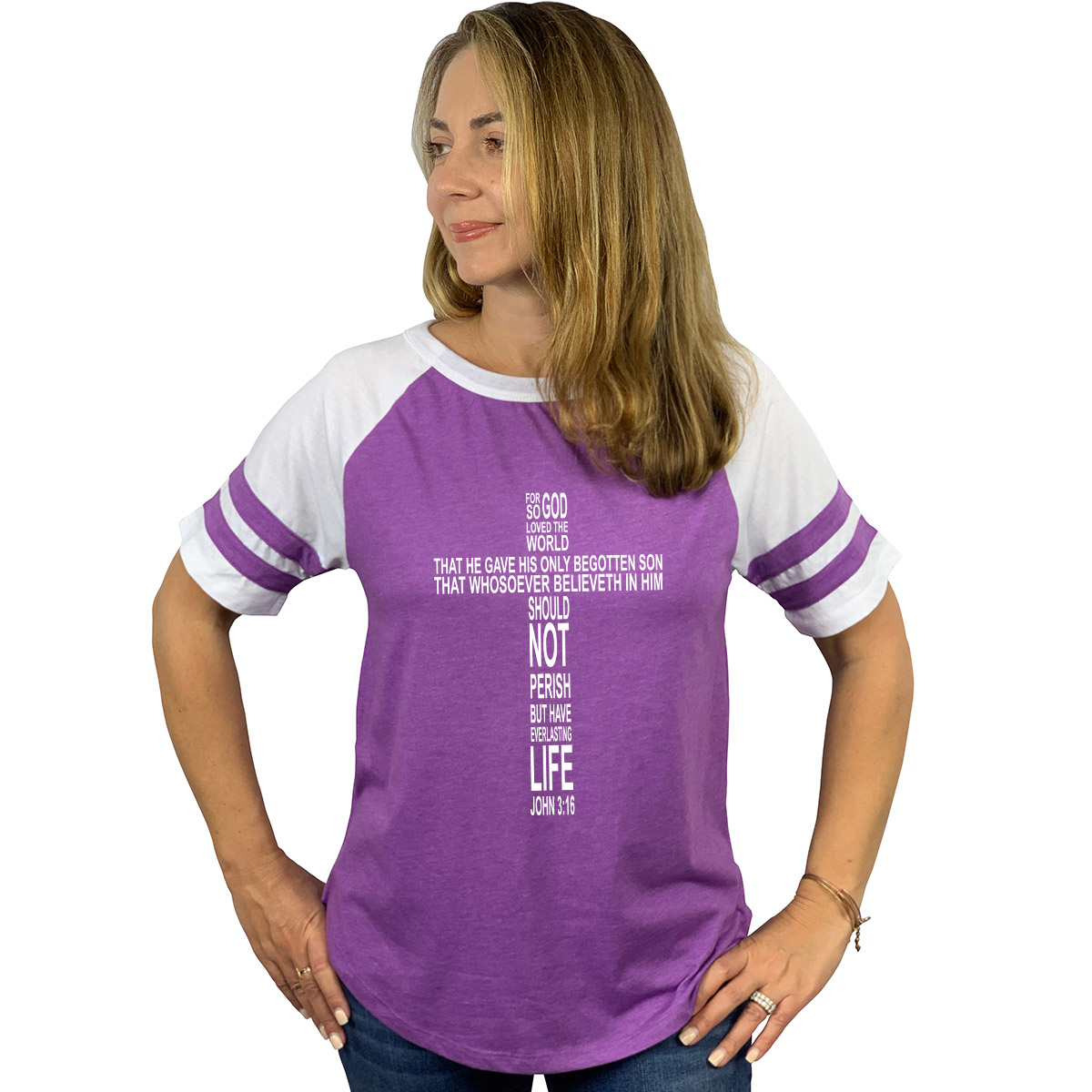 John 3 16 Cross Women S Short Sleeve Baseball Jersey