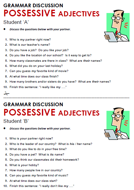 5 Exercises Grade Adjectives Possessive
