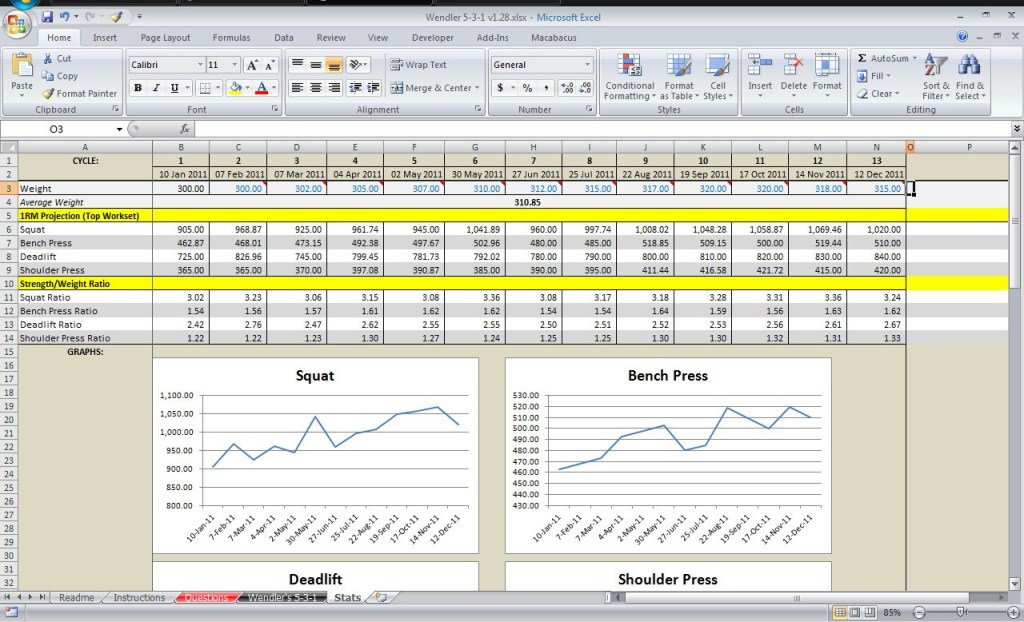 531 Excel Spreadsheet By Poteto V1 28 All Things Gym