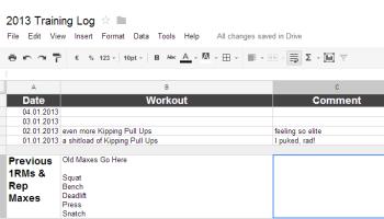 start a training log