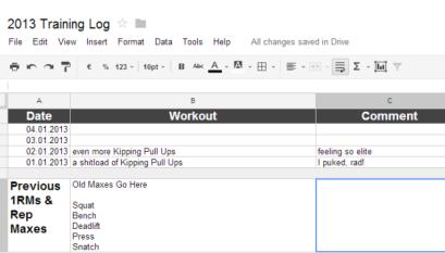Reddit Fitness Spreadsheet
