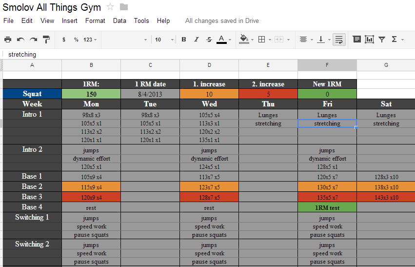 Smolov Spreadsheet