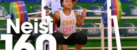 Neisi Dajomes Barrera 160kg x4 Squat 2016 Junior World Weightlifting Championships Training Hall
