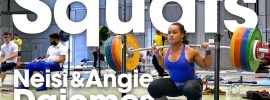 Neisi & Angie Dajomes Back Squats up to 170kg x2 at 2017 Junior Worlds