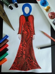 Red design gown sketch