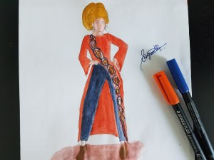 Mid length tunic in orange color sketch in hijab OOTD style