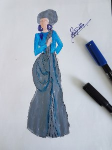 Grey and blue gown hija OOTD fashion sketch