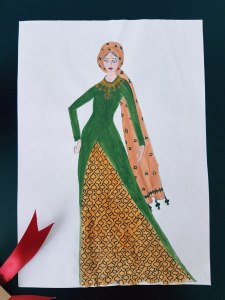 Hijab Fashion Sketch- Olive green and golden dress