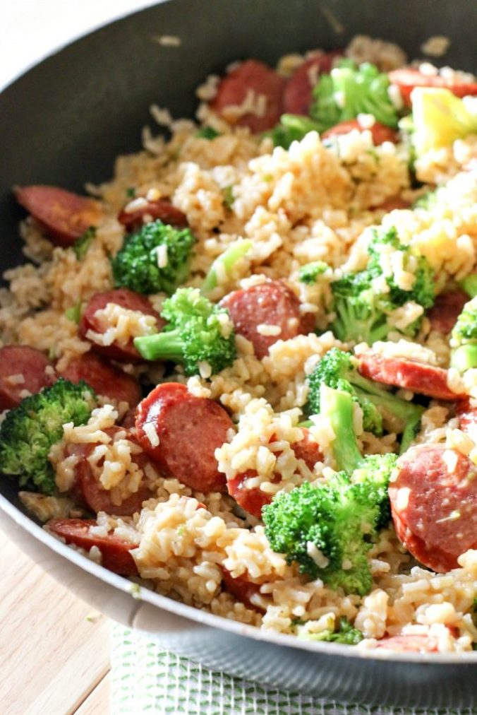 35 cheap budget friendly meals to feed the family for under 15 for an easy and quick weeknight meal solution this smoked sausage rice one skillet forumfinder Images