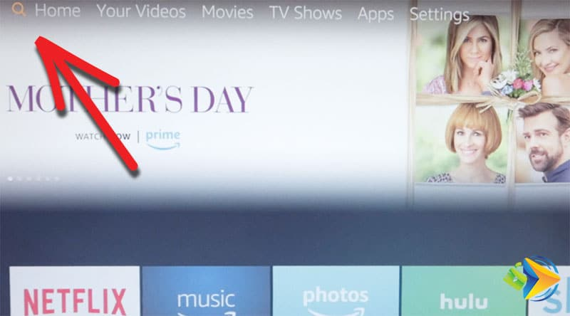 Click on the search icon in the Amazon Fire TV main menu