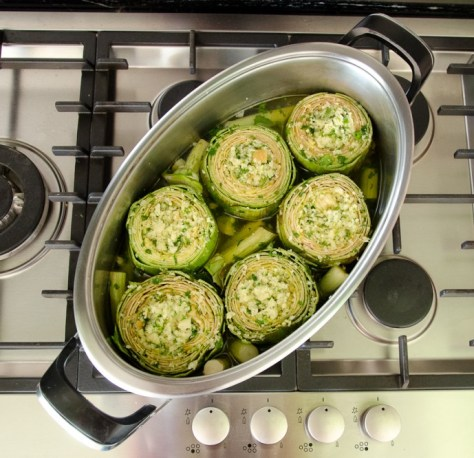 Artichokes on cooktop 2