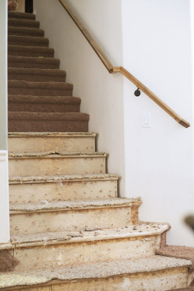New Wooden Stair Treads Reveal…Finally All Things Thrifty   Particle Board Stair Treads   Uncarpeted   Mdf   Refinish   Rough Cut   Recycled