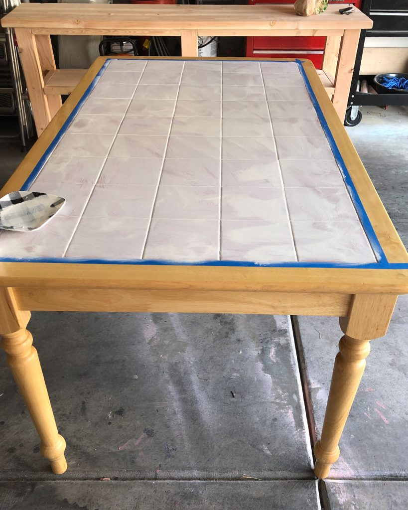 how to paint a dated tile table all