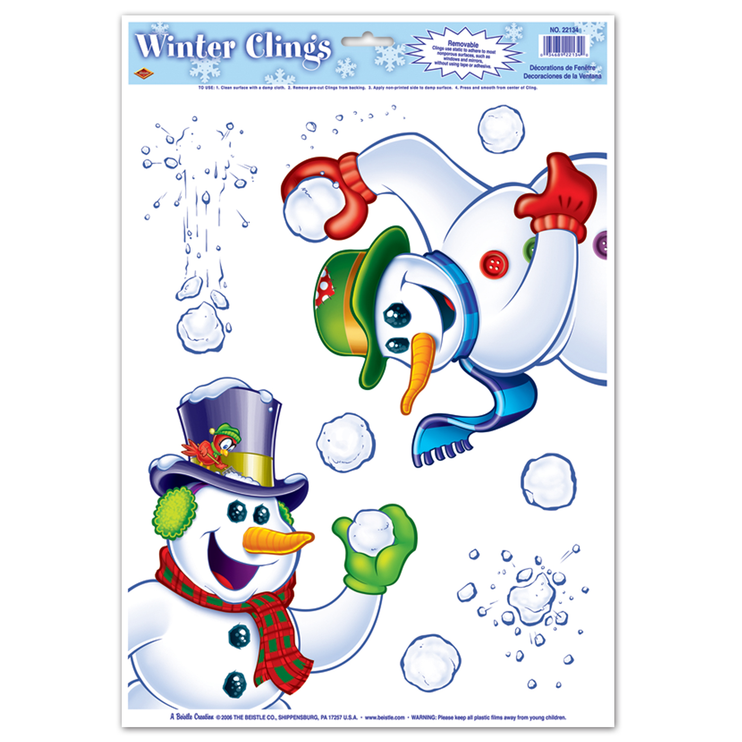 12 Units Of Snowman Clings 6 Snowballs Included